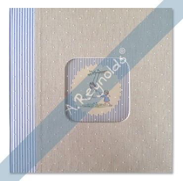 Álbum Fotos XL Beige Lomo Rayas Celestes (30x30)